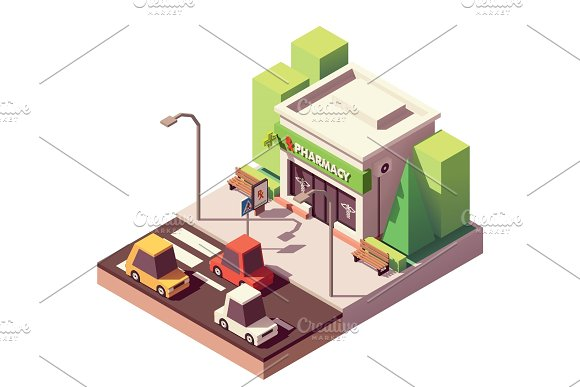 Vector Isometric Pharmacy Or Drugstore