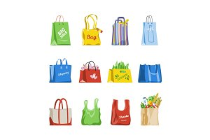Shopping bag vector shop paper-bag and baggy package for gift or sale purchase from fashion store illustration set of shoppers bagged package isolated on white background