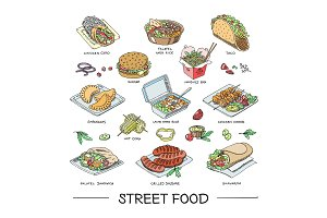 Street food vector fastfood burger or grilled sausages and traditional cuisine taco or falafel illustration set of fast snack shawarma and chicken kebab isolated on white background