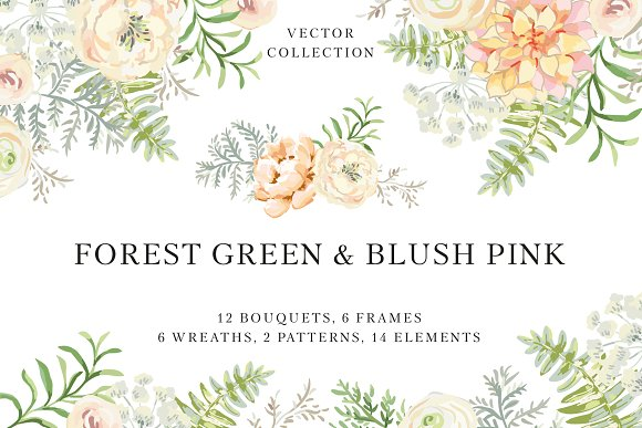 Forest Green Blush Pink