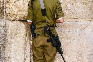 Israeli Soldier Praying Western Wall