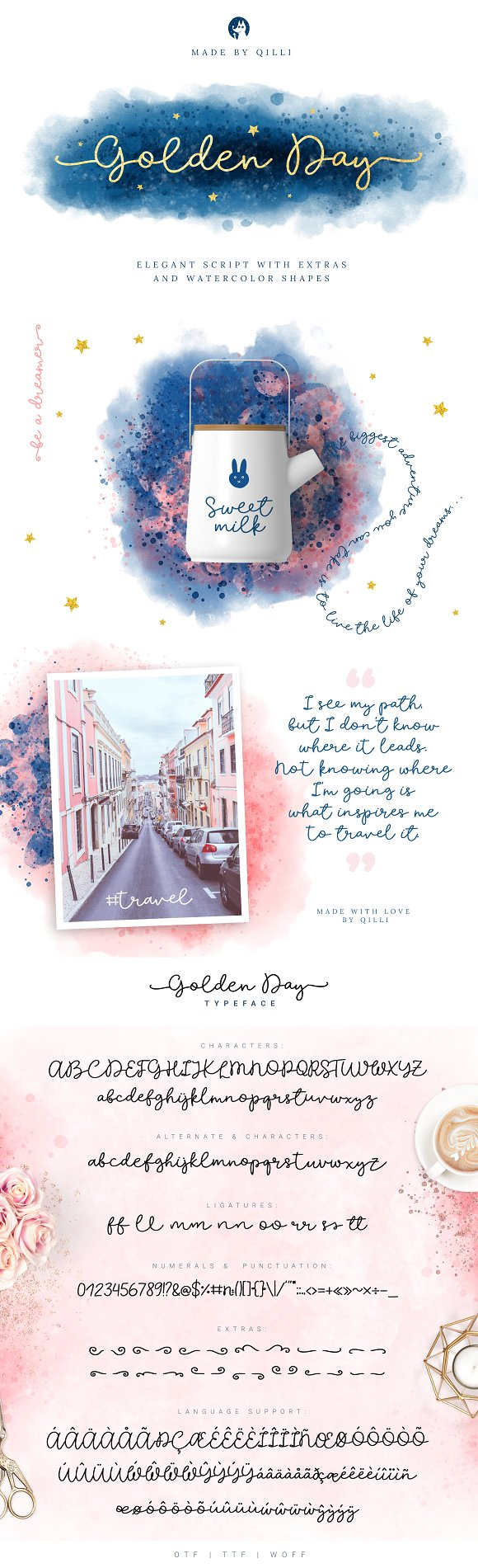 Golden Day Font With Extras Shapes