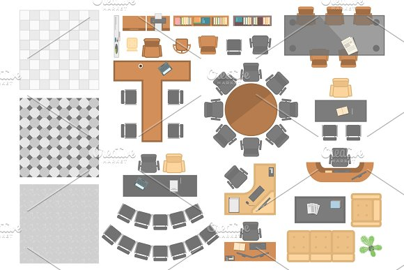 Office Workplace Elements Set Of Modern Vector Objects