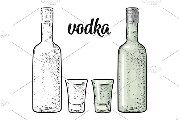 Glass And Bottle Calligraphic Handwriting Lettering Vodka