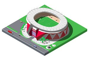 Vector isometric football stadium