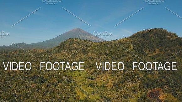 Mountain Landscape Farmlands And Village Bali Indonesia