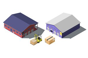 Warehouse building isometric set