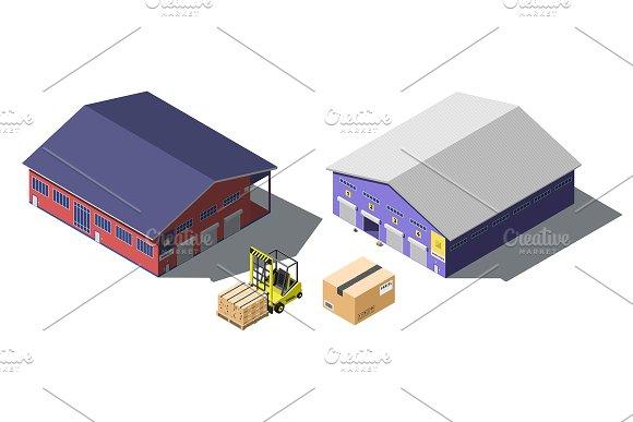 Warehouse Building Isometric Set