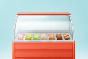 Red fridge for ice cream