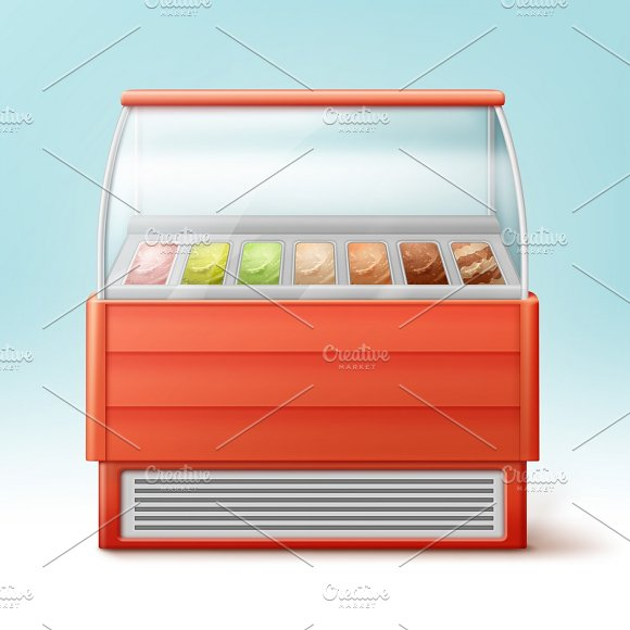 Red Fridge For Ice Cream