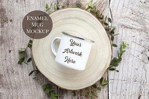 Enamel Mug Mockup - rustic wood