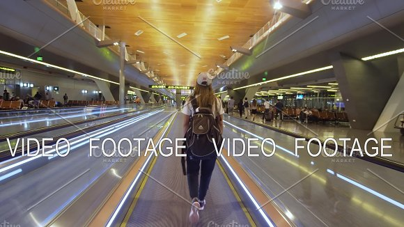 Girl At The International Airport In Doha Qatar