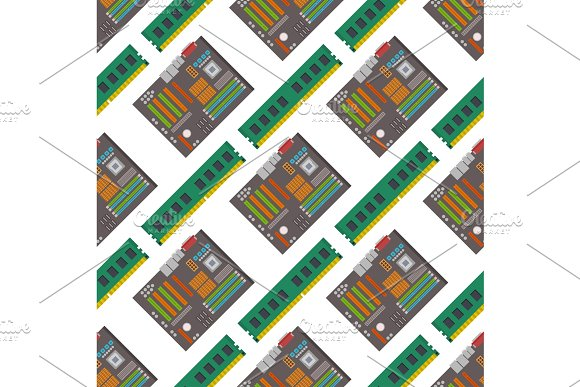 Computer Chip Technology Processor Seamless Pattern Background Circuit Motherboard Information System Vector Illustration