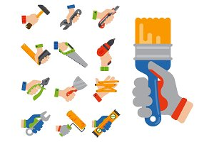Hands with construction tools worker equipment house renovation handyman vector illustration.