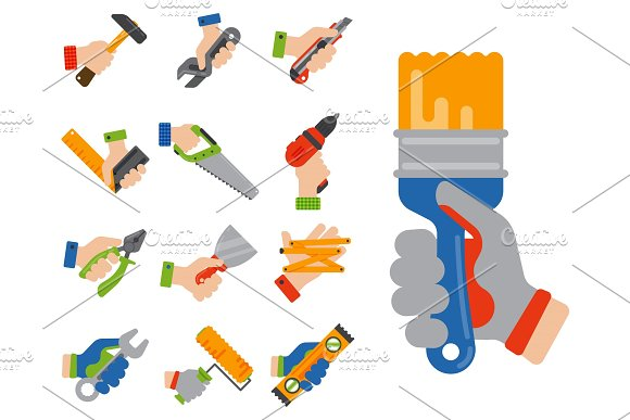 Hands With Construction Tools Worker Equipment House Renovation Handyman Vector Illustration