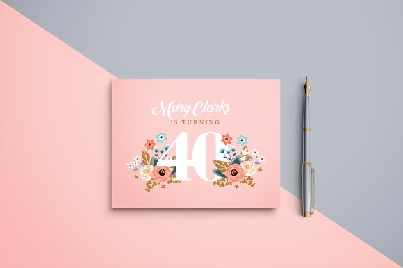 peach birthday invitation invitation templates creative market