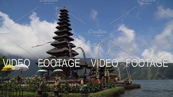 Hindu Temple On The Island Of Bali Pura Ulun Danu Bratan Cinemagraph