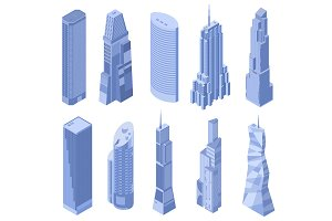 Vector isometric skyscrapers