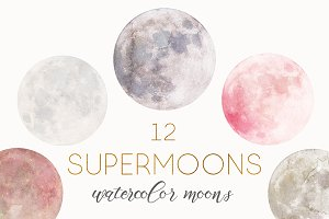 SuperMoons: 12 watercolor moons