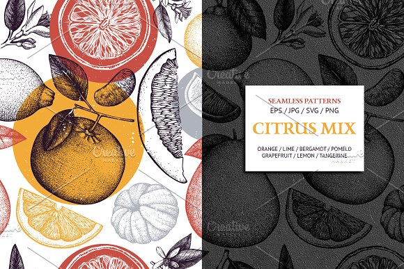 Citrus Mix Seamless Patterns Set