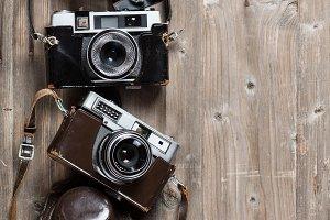 Vintage cameras above view.