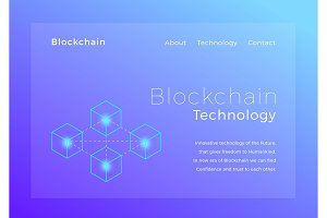 Blockchain crypto technology. Blockchain concept isometric vector illustration. Landing page design