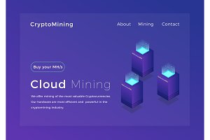 Crypto mining. Cloud cryptocurrency miners concept isometric vector illustration. Landing page design
