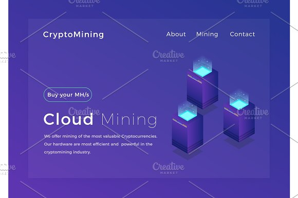 Crypto Mining Cloud Cryptocurrency Miners Concept Isometric Vector Illustration Landing Page Design