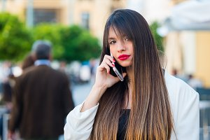 young woman using her cell phone