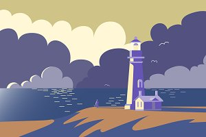 Landscape with lighthouse