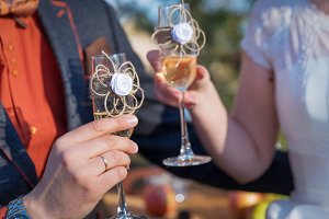 Couple married bride groom toast champagne glasses