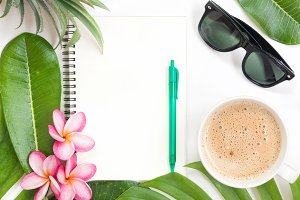Tropical topbotanical concept still life notebook
