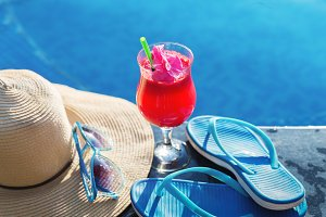 Watermelon juice drink glass flower sunglasses