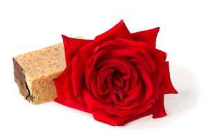 Red rose soap, herbal spa concept