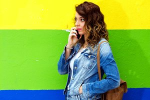 Pretty girl calling by phone