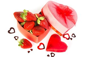 strawberries in heart shaped Valentines gift box