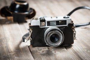 Retro lens foto camera.