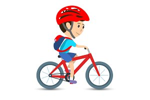 Boy cycling on bicycle