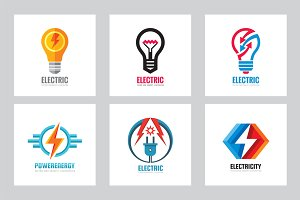 Electric Power Lightbulb Logo Set