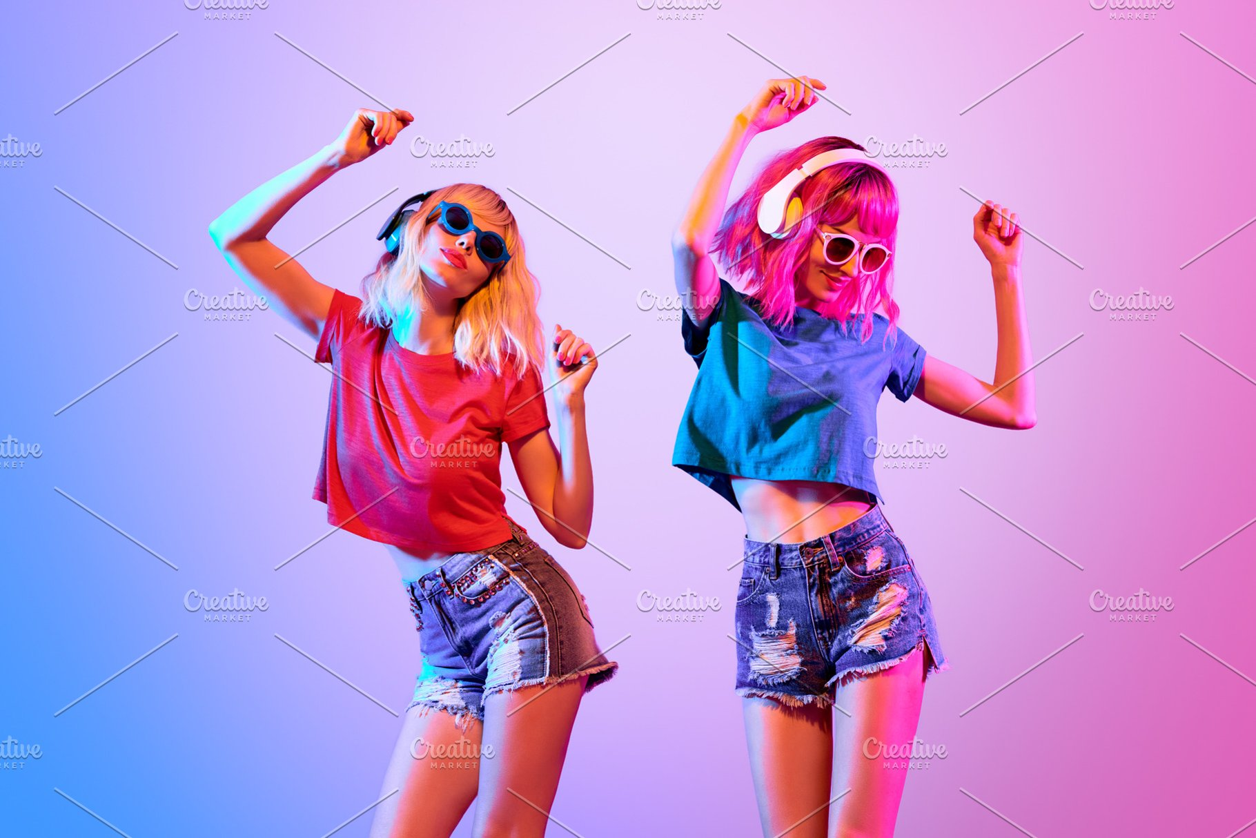 Two DJ Girl Hipster with Fashion Hairstyle Dance