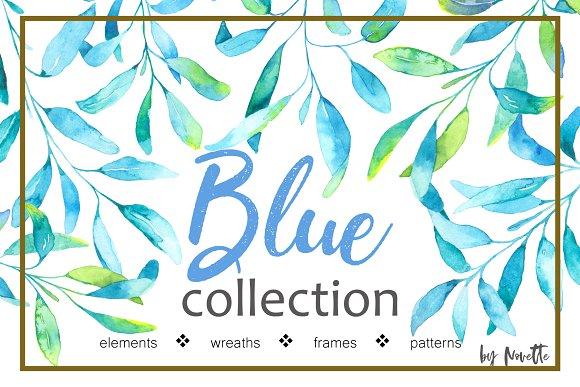 Blue Plants Watercolor Set