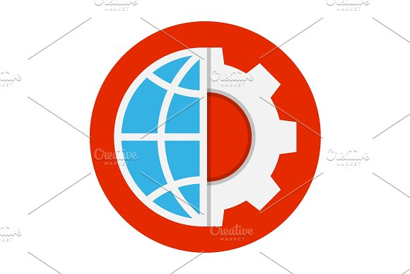 Globe And Gear Flat Icon