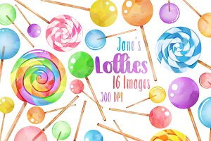Watercolor Lollipops Clipart