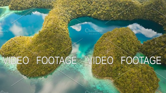Aerial View Tropical Lagoon Sea Beach Tropical Island Siargao Philippines