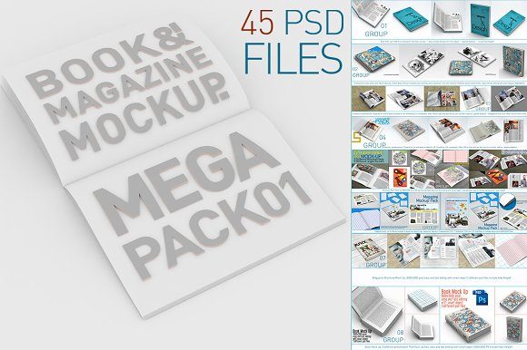 Download Book & Magazine Mock Ups Mega Pack