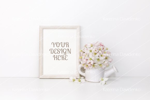 Frame MockUp With Flowers Vertical