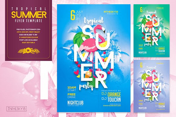 tropical summer party flyer template flyer templates creative market