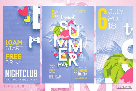 tropical summer party flyer template flyer templates creative market