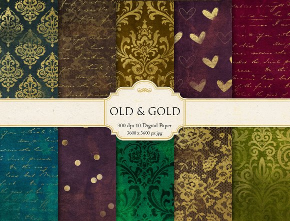 Damask Gold Digital Paper