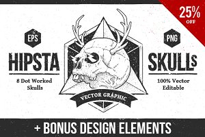 Hipsta Skulls | Vector Pack 25% off